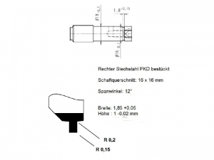 Skizze für PKD Drehwerkzeug Werkzeug